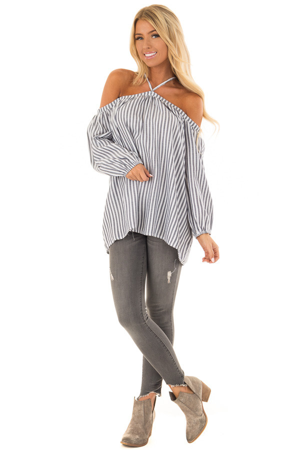 Dark Navy and Cream Striped Cold Shoulder Halter Neck Top front full body