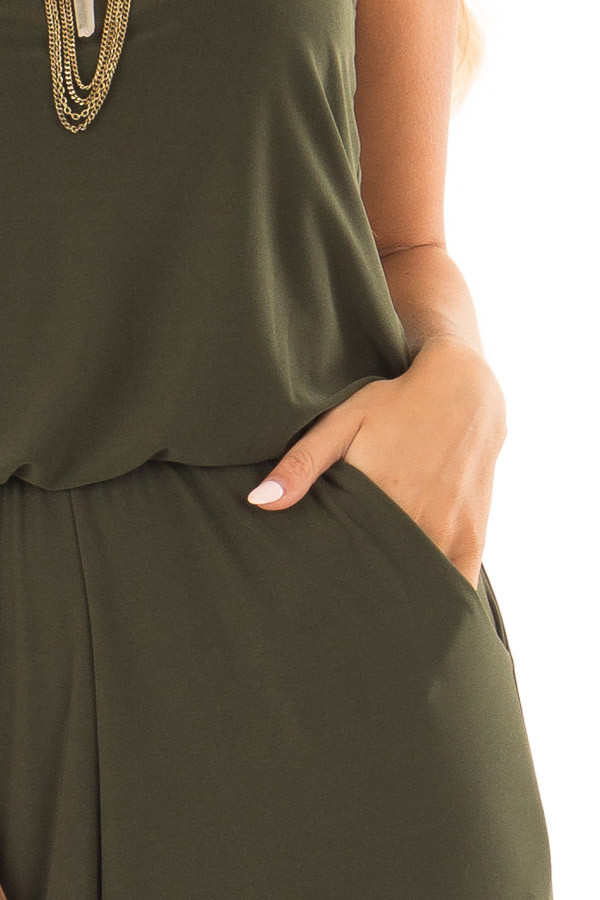 Olive Slinky Jumpsuit with Elastic Waist and Pockets detail