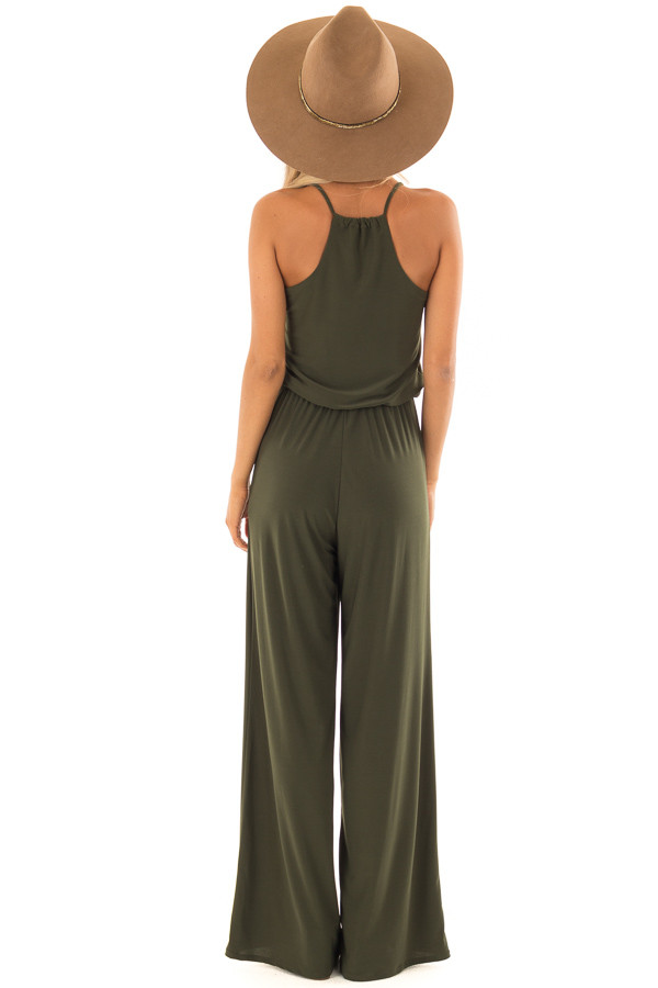 Olive Slinky Jumpsuit with Elastic Waist and Pockets back full body
