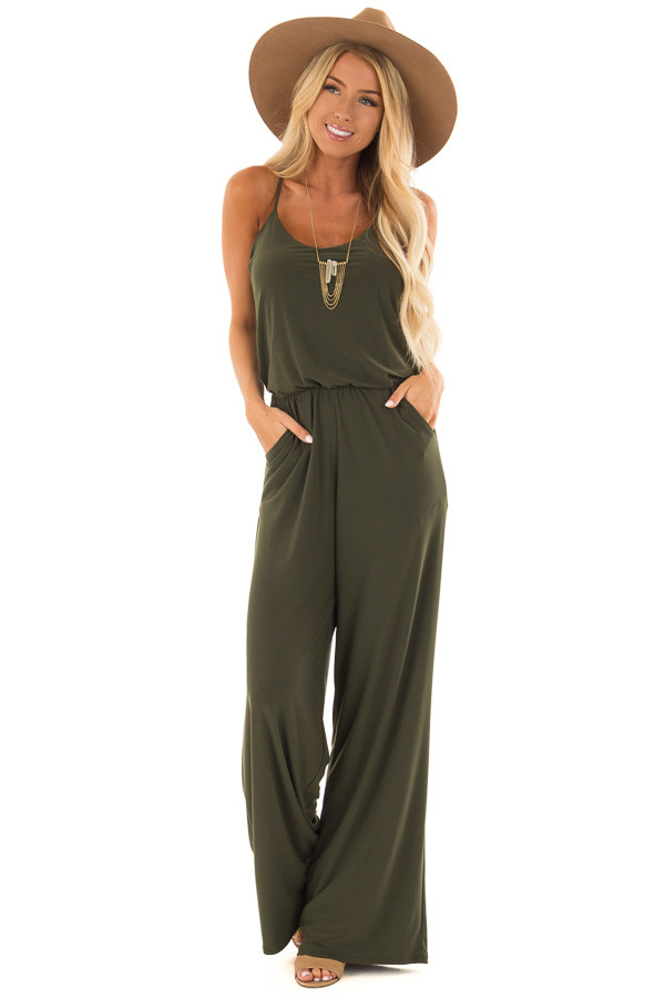 Olive Slinky Jumpsuit with Elastic Waist and Pockets front full body
