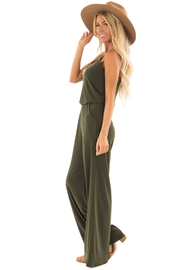 Olive Slinky Jumpsuit with Elastic Waist and Pockets side full body