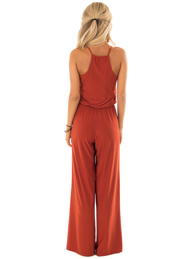 Rust Slinky Jumpsuit with Elastic Waist and Pockets back full body
