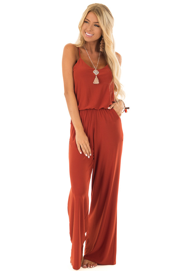 Rust Slinky Jumpsuit with Elastic Waist and Pockets front full body