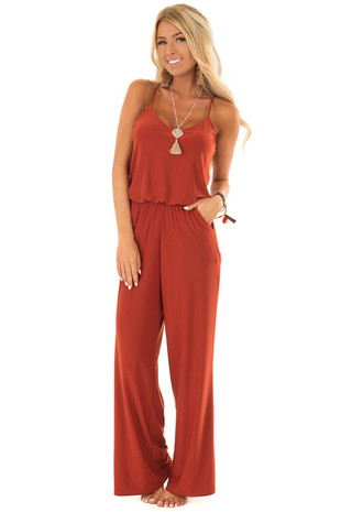 Rust Slinky Jumpsuit with Elastic Waist and Pockets front close up