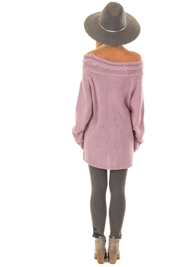 Lavender Off the Shoulder Knit Sweater with Braided Detail back full body