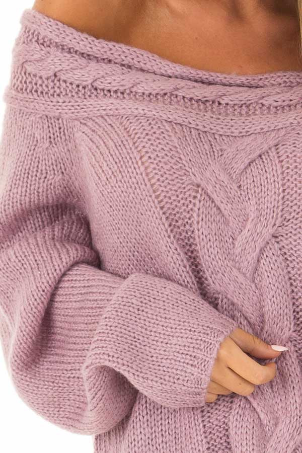 Lavender Off the Shoulder Knit Sweater with Braided Detail detail