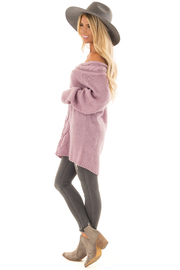 Lavender Off the Shoulder Knit Sweater with Braided Detail side full body