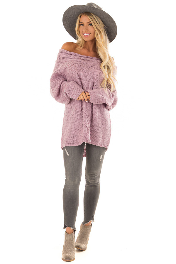 Lavender Off the Shoulder Knit Sweater with Braided Detail front full body