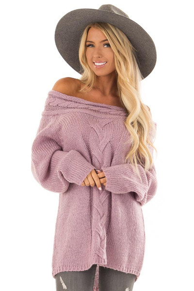 Lavender Off the Shoulder Knit Sweater with Braided Detail front close up
