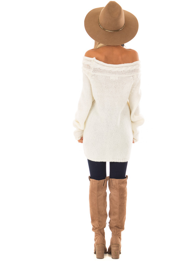 Cream Off the Shoulder Knit Sweater with Braided Detail back full body