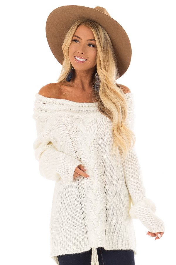 Cream Off the Shoulder Knit Sweater with Braided Detail front close up