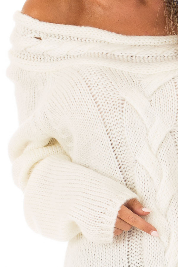 Cream Off the Shoulder Knit Sweater with Braided Detail detail