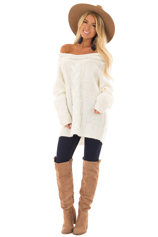 Cream Off the Shoulder Knit Sweater with Braided Detail front full body