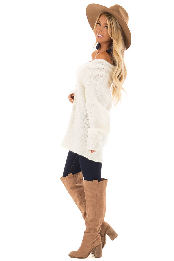 Cream Off the Shoulder Knit Sweater with Braided Detail side full body