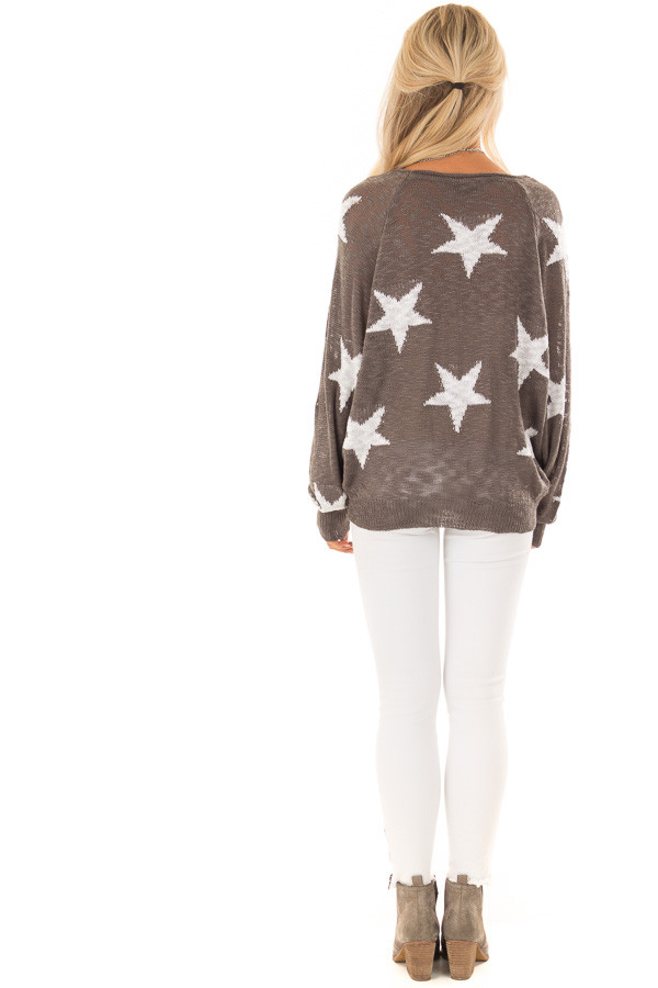 Charcoal Comfy V Neck Sweater with Star Print back full body