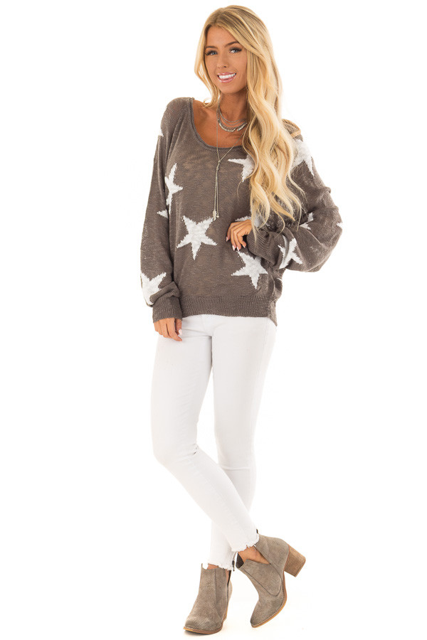 Charcoal Comfy V Neck Sweater with Star Print front full body