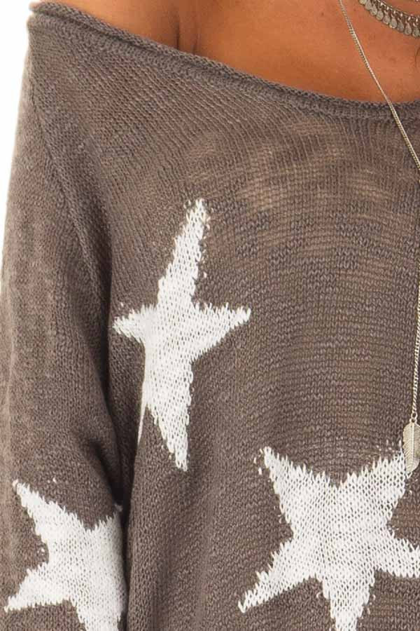 Charcoal Comfy V Neck Sweater with Star Print detail