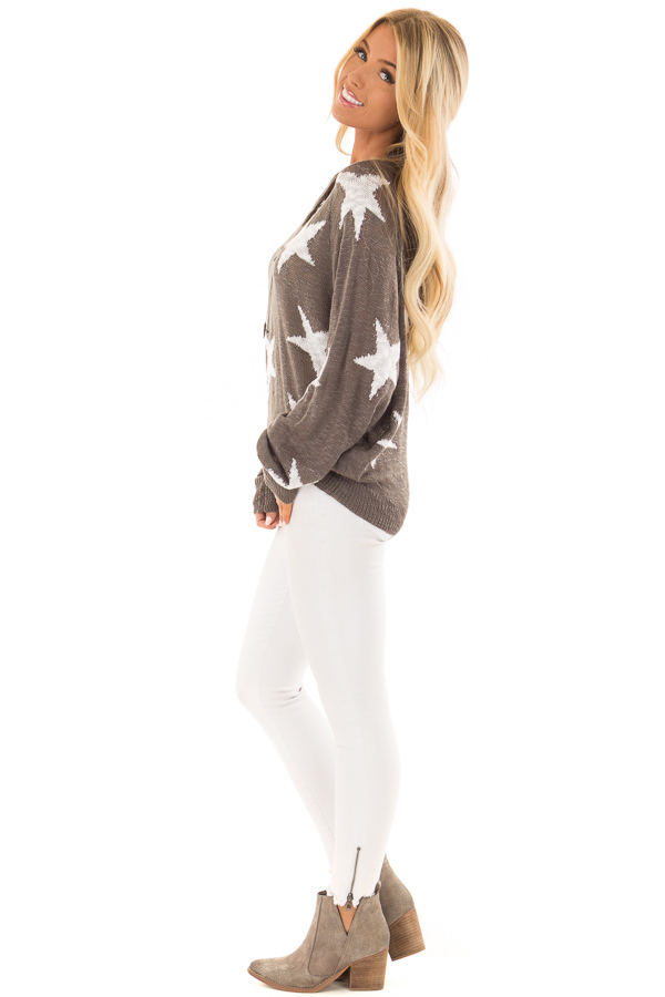 Charcoal Comfy V Neck Sweater with Star Print side full body
