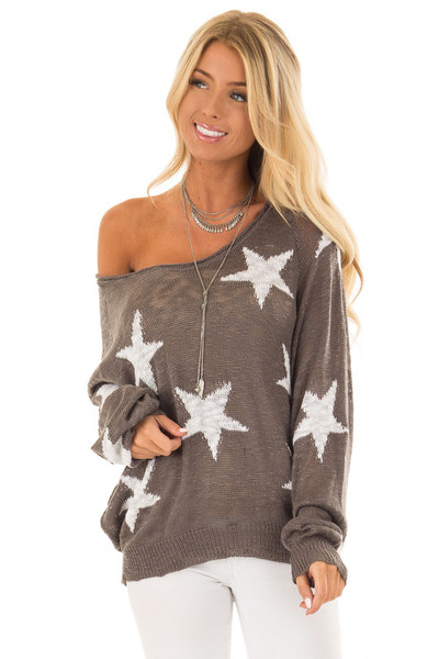 Charcoal Comfy V Neck Sweater with Star Print front close up