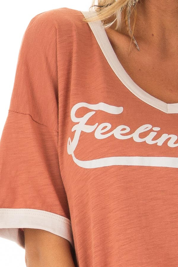 Apricot and Cream 'Feelin Fine' Short Sleeve Tee detail