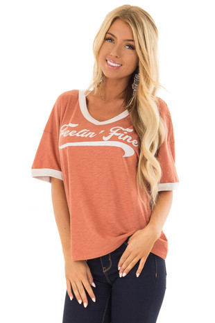Apricot and Cream 'Feelin Fine' Short Sleeve Tee front close up