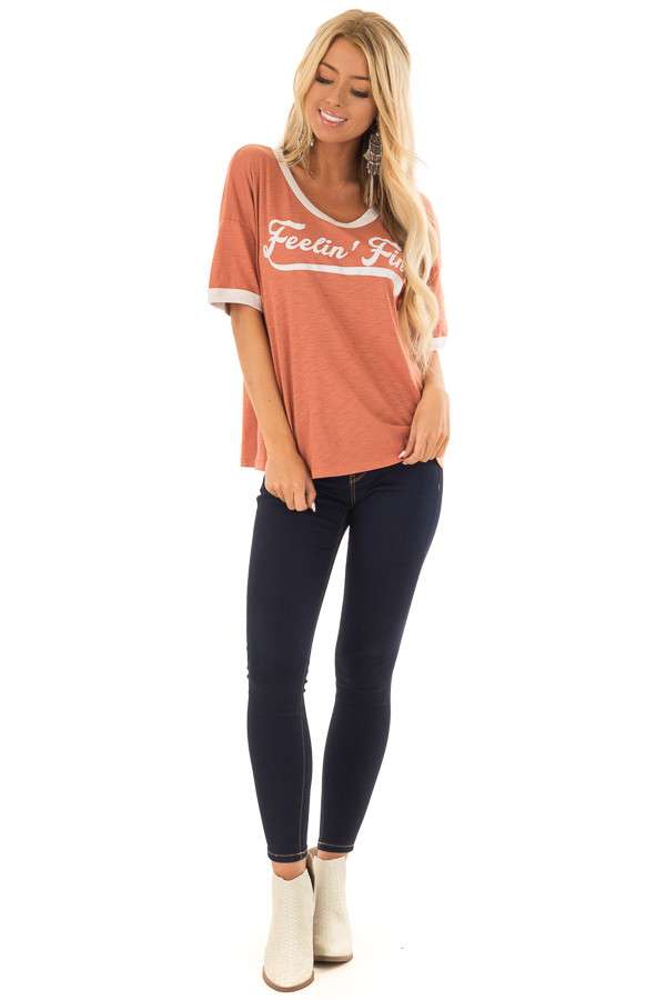 Apricot and Cream 'Feelin Fine' Short Sleeve Tee front full body