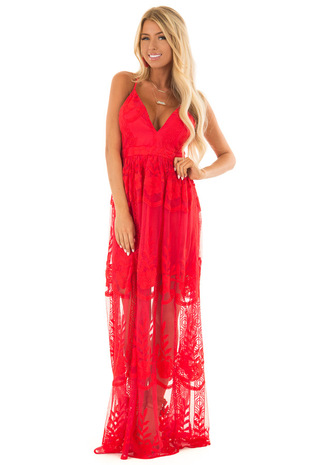 Scarlet Embroidered Lace Maxi Dress with Criss Cross Straps front full body