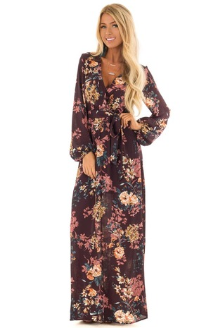 Plum Floral Print Surplice Maxi Dress with Waist Sash front full body