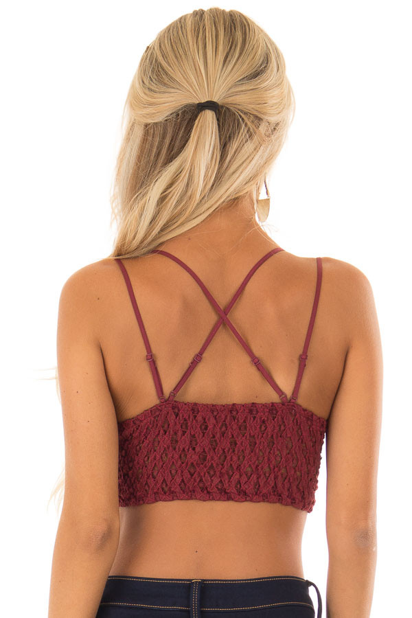 Burgundy Lace Bralette with Adjustable Criss Cross Straps back close up