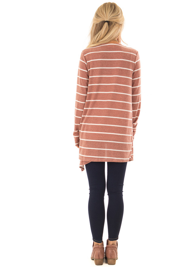 Rust Striped Open Front Knit Cardigan back full body