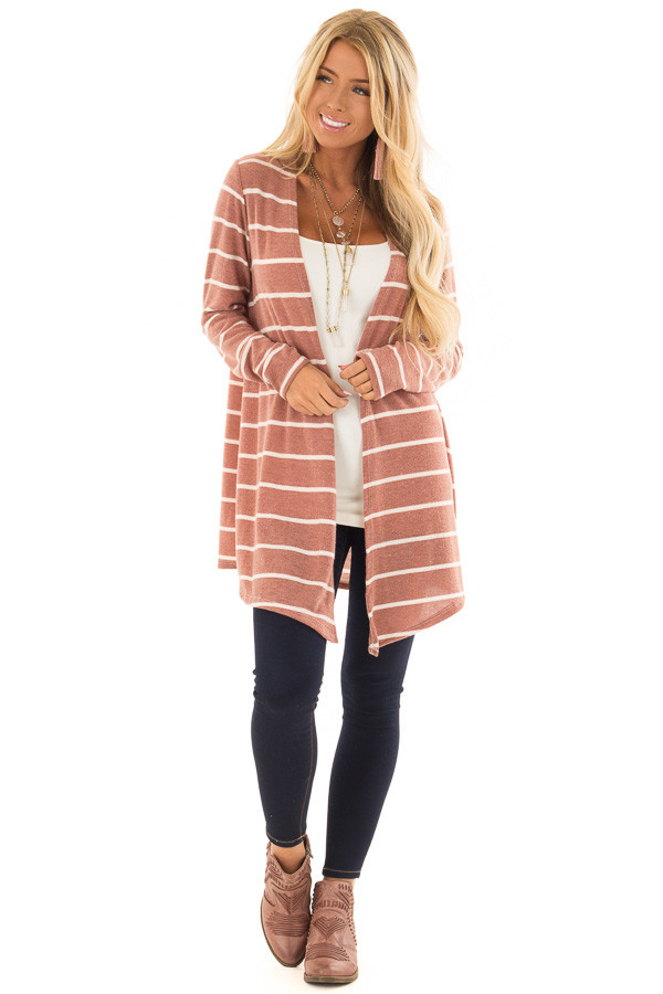 Rust Striped Open Front Knit Cardigan front full body