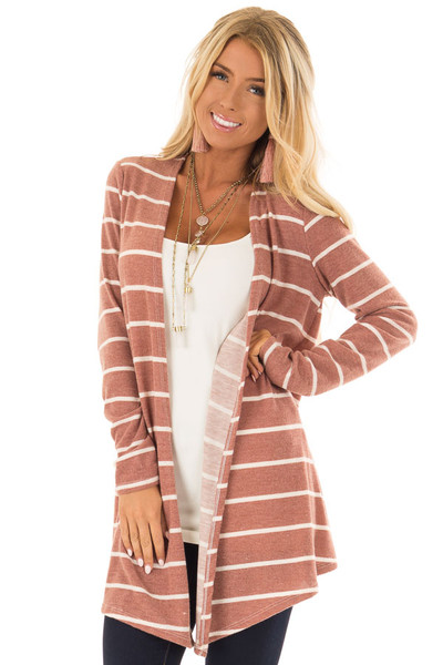 Rust Striped Open Front Knit Cardigan front close up