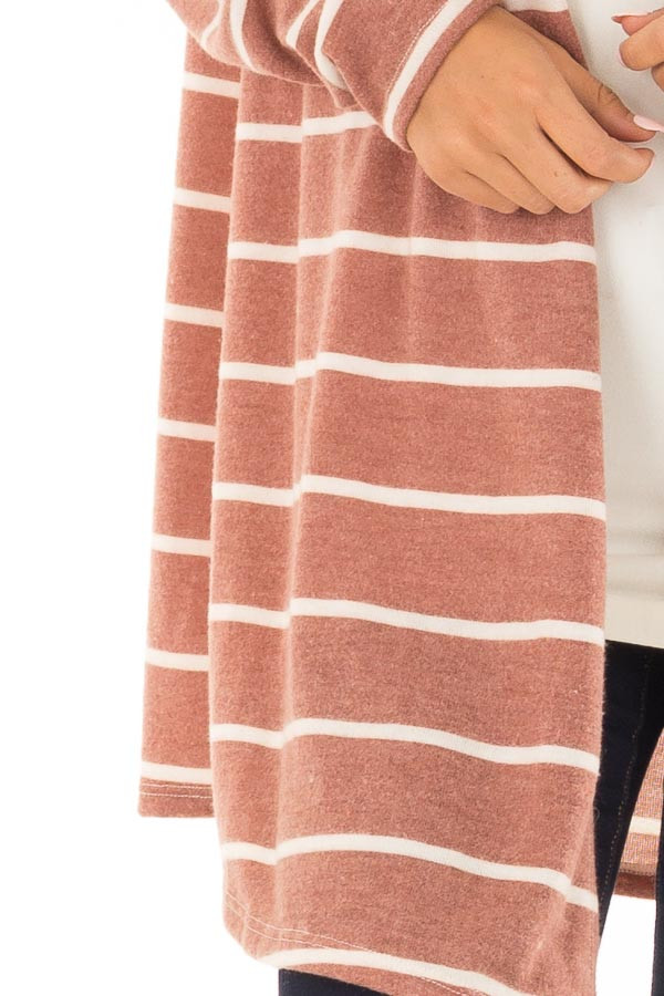 Rust Striped Open Front Knit Cardigan detail