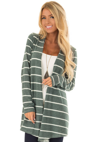Hunter Green Striped Open Front Knit Cardigan front close up