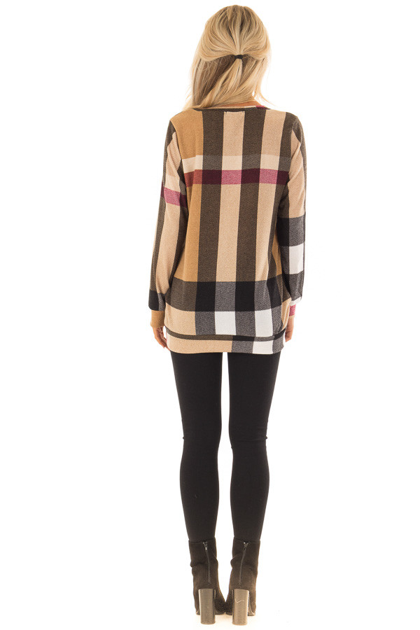 Camel Long Sleeve Plaid Top with Side Pockets back full body
