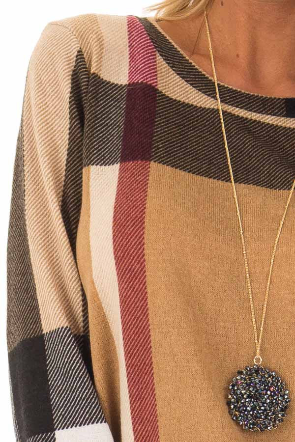 Camel Long Sleeve Plaid Top with Side Pockets detail