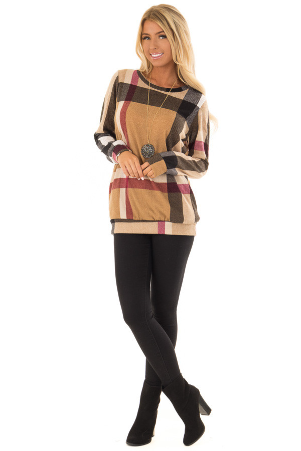 Camel Long Sleeve Plaid Top with Side Pockets front full body