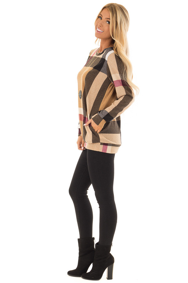 Camel Long Sleeve Plaid Top with Side Pockets side full body