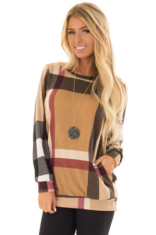 Camel Long Sleeve Plaid Top with Side Pockets front close up