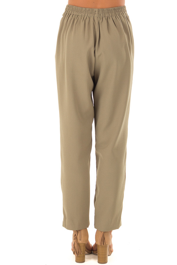 Light Olive Crepe Pants with Elastic Waist and Tie back view