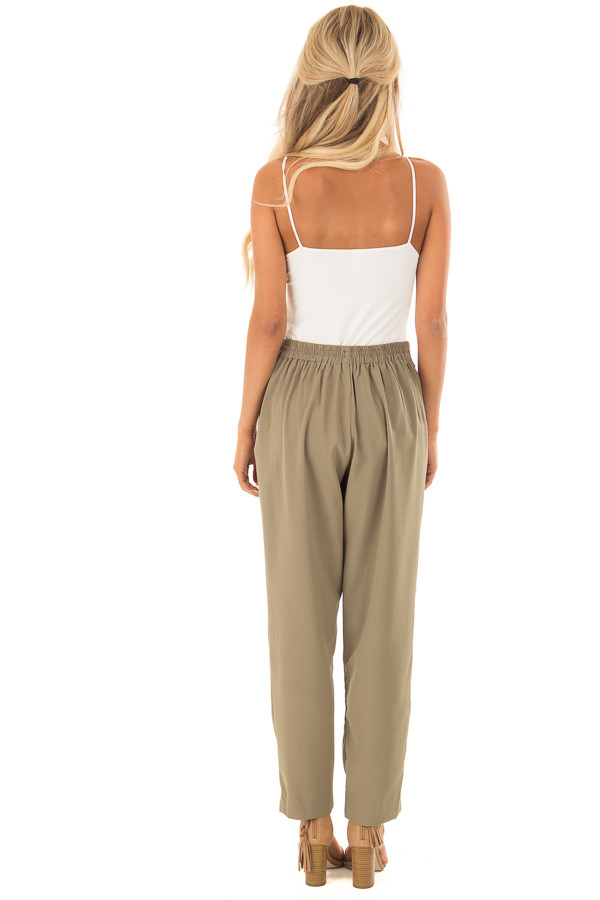 Light Olive Crepe Pants with Elastic Waist and Tie back full body