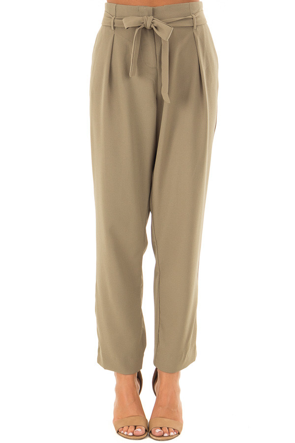 Light Olive Crepe Pants with Elastic Waist and Tie front view