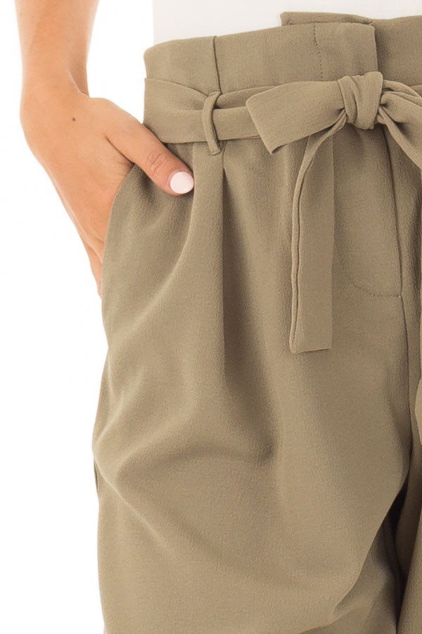 Light Olive Crepe Pants with Elastic Waist and Tie detail
