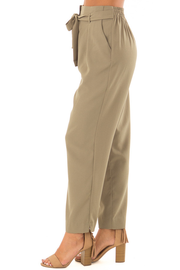 Light Olive Crepe Pants with Elastic Waist and Tie side view