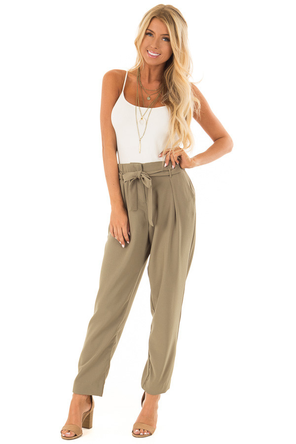 Light Olive Crepe Pants with Elastic Waist and Tie front full body