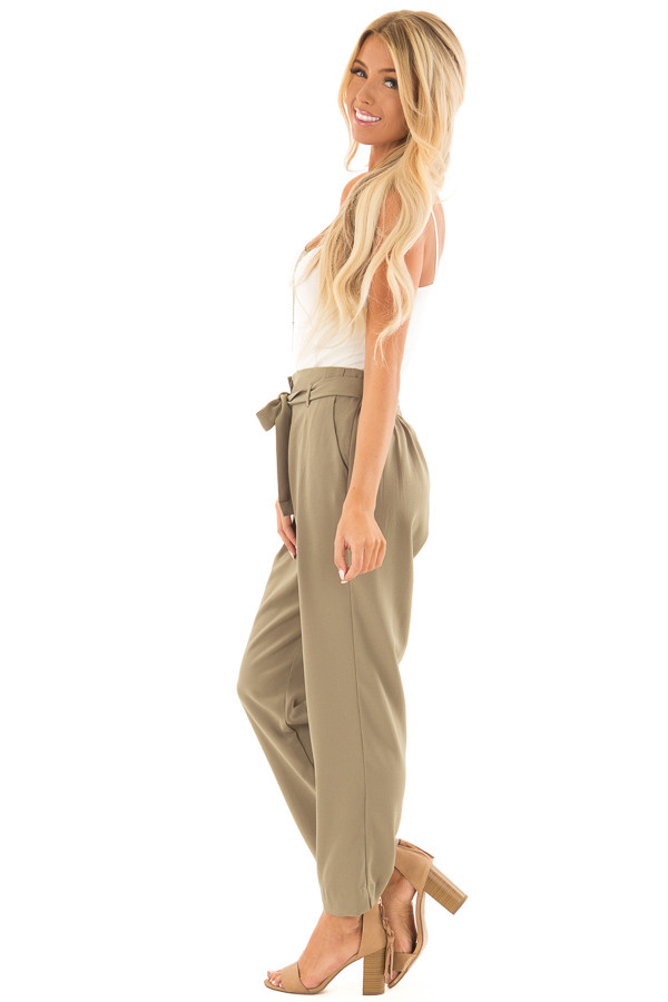 Light Olive Crepe Pants with Elastic Waist and Tie side full body
