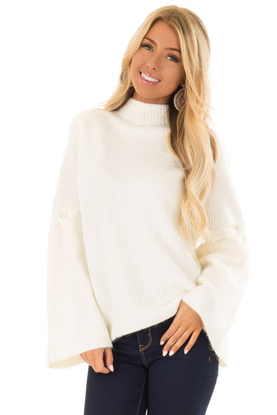 Off White Thick Knit Sweater with Bell Sleeves and High Neck front close up