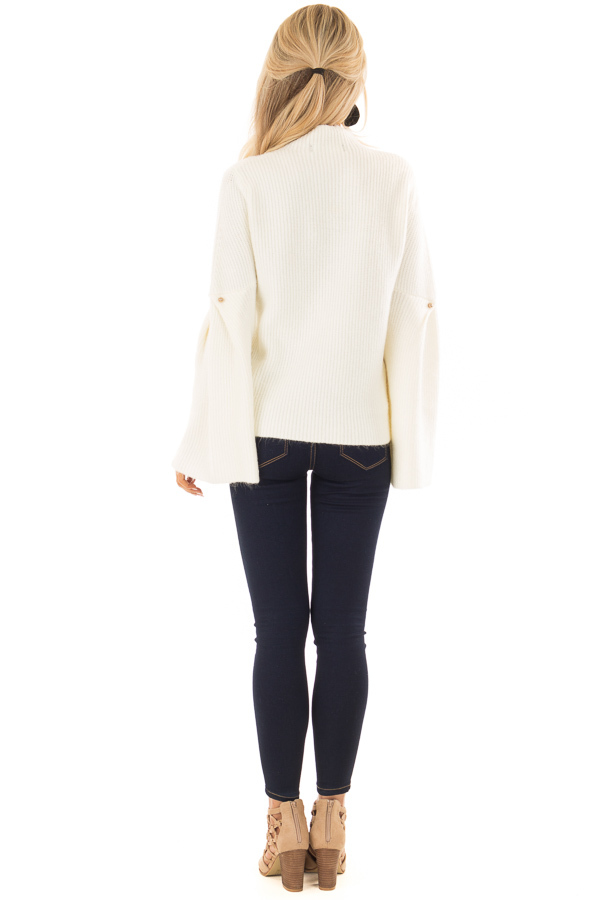 Off White Thick Knit Sweater with Bell Sleeves and High Neck back full body