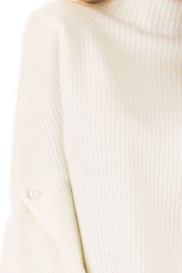 Off White Thick Knit Sweater with Bell Sleeves and High Neck detail