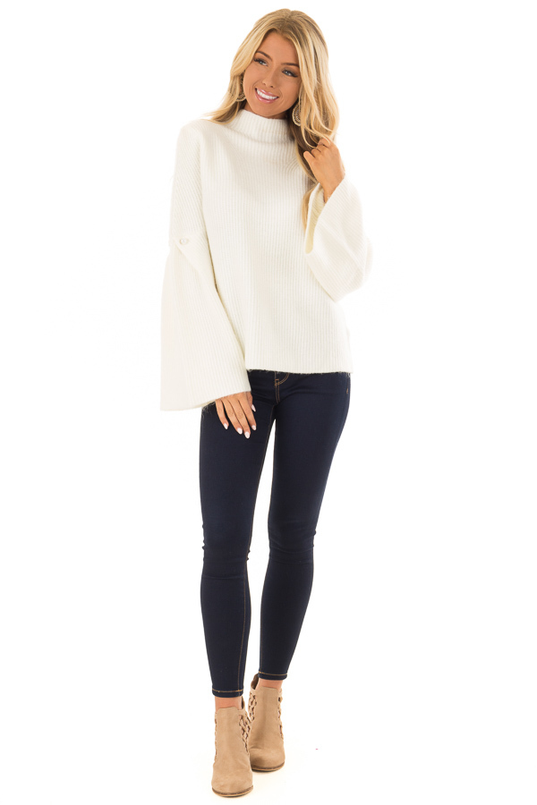 Off White Thick Knit Sweater with Bell Sleeves and High Neck front full body